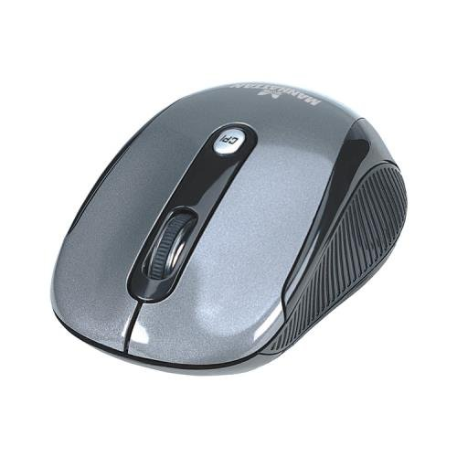 Manhattan Performance Wireless Mouse, Black, Adjustable DPI (1000, 1500 or 2000dpi), 2.4Ghz (up to 10m), USB, Optical, Four Button with Scroll Wheel, USB micro receiver, AA battery (included), Low friction base, Blister